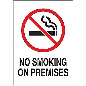 Sign,No Smoking On Premises,10 x 7 In.