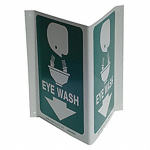 Eye Wash Sign,12 x 18In,WHT/GRN,PS,ENG