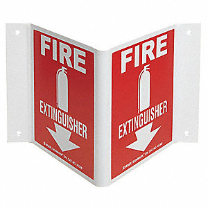 "Fire Equipment, No Header, Plastic, 8"" x 14-1/2"", With Mounting Holes, Not Retroreflective"