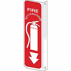 "Fire Equipment, No Header, Plastic, 18"" x 4"", With Mounting Holes, Not Retroreflective"
