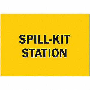Spill Station Sign,7 x 10 In.