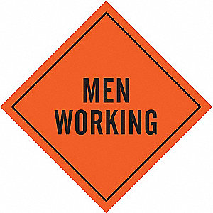 Roll-Up Sign,Men Working,Mesh,48 In.