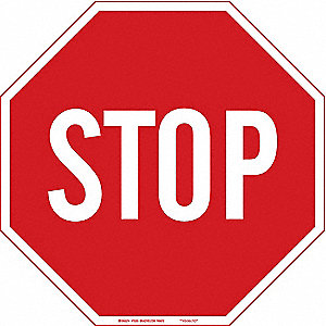Stop Sign,18 x 18In,WHT/R,Fiberglass