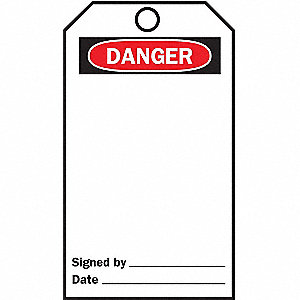 TAG DANGER LARGE HOLE 25/PK