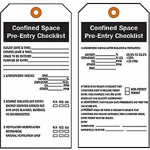 TAG CONFINED SPACE VINYL APT 25/PK
