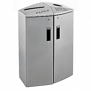 24 gal. Silver Metallic Recycling Station, Open Top