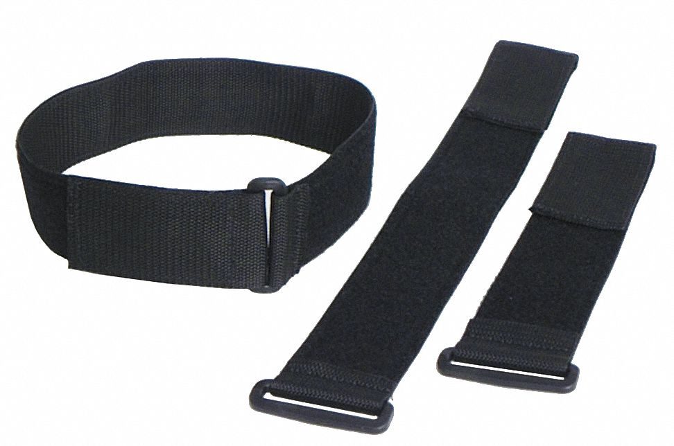 Hook-and-Loop-Type Cinch Strap with No Adhesive, Black, 2 in x 12 in, 10PK