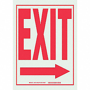 SIGN GLO EXIT RIGHT ARROW 14X10