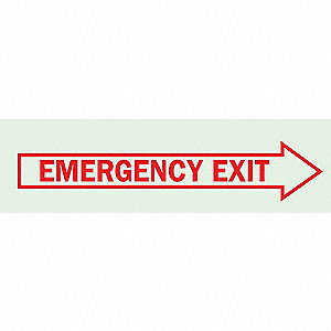 SIGN EMERGENCY EXIT RGHT ARR 3.5X10