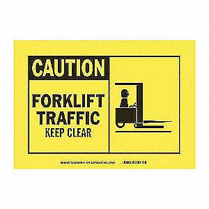 SIGN ALERT CAUTION 7X10 SS FORKLIFT