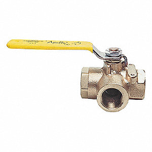 BALL VALVE,3 WAY,1 1/4 IN NPT,BRONZ