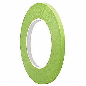 "Paper Masking Tape, Rubber Tape Adhesive, 6.70 mil Thick, 3/8"" X 60 yd., Green, 1 EA"