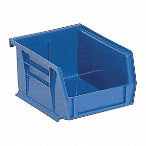 "Hang and Stack Bin, Blue, 5"" Outside Length, 4-1/8"" Outside Width, 3"" Outside Height"