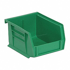 "Hang and Stack Bin, Green, 5"" Outside Length, 4-1/8"" Outside Width, 3"" Outside Height"