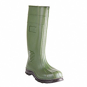 "15""H Men's Boots, Plain Toe Type, PVC Upper Material, Green, Size 8"