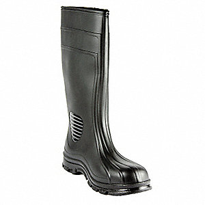 "15""H Men's Knee Boots, Steel Toe Type, PVC Upper Material, Black, Size 10"