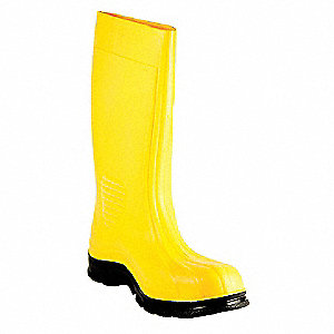 "15""H Men's Boots, Plain Toe Type, PVC Upper Material, Yellow, Size 11"