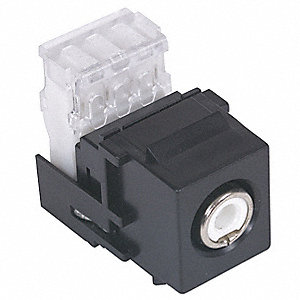 Keystone Jack, Black, Plastic, Series: iSTATION, Cable Type: RCA (White)