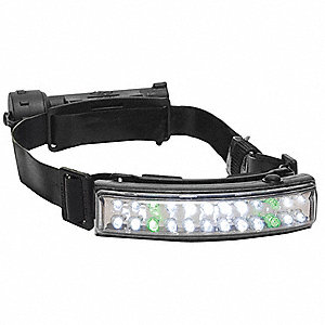 LED Headlamp, Nylon, 50,000 hr. Lamp Life, Maximum Lumens Output: 82, Black