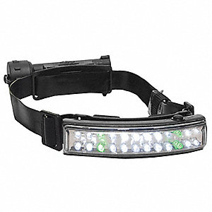 Headlamp, Nylon, 50,000 hr. Lamp Life, Maximum Lumens Output: 50, Black