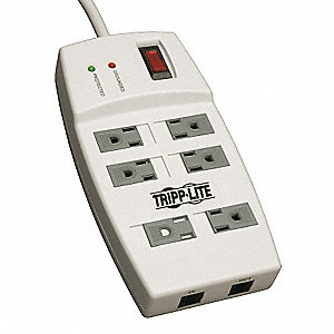 Surge Protector Strip,6 Outlet,Gray