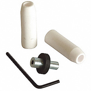 Siphon-Feed Ceramic Abrasive Blast Nozzle Kit for Blasting Gun, Includes 2 Nozzles, Airjet, Wrench