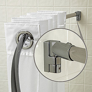 "57-3/4""L x 1"" x 3/4""D  Satin Curved Shower Rod, Includes: Pivot Brackets and Hardware"