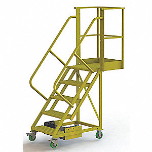 "Unsupported 5-Step Cantilever Rolling Ladder, Serrated Step Tread, 92"" Overall Height"