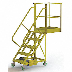 "Unsupported 5-Step Cantilever Rolling Ladder, Perforated Step Tread, 92"" Overall Height"