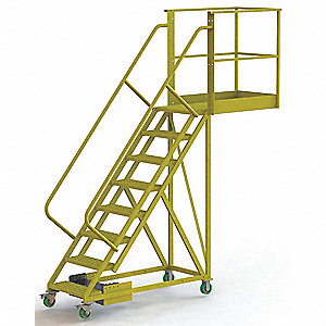 "Unsupported 8-Step Cantilever Rolling Ladder, Perforated Step Tread, 122"" Overall Height"
