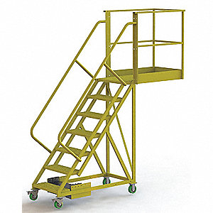 "Unsupported 7-Step Cantilever Rolling Ladder, Serrated Step Tread, 112"" Overall Height"