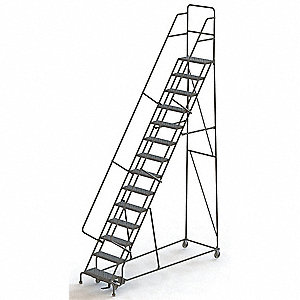 "14-Step Rolling Ladder, Perforated Step Tread, 176"" Overall Height, 450 lb. Load Capacity"