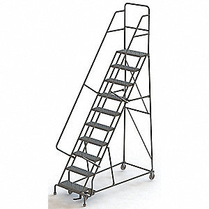 "10-Step Rolling Ladder, Serrated Step Tread, 136"" Overall Height, 450 lb. Load Capacity"