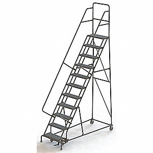 "11-Step Rolling Ladder, Serrated Step Tread, 146"" Overall Height, 450 lb. Load Capacity"