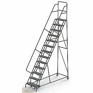 "13-Step Rolling Ladder, Serrated Step Tread, 166"" Overall Height, 450 lb. Load Capacity"