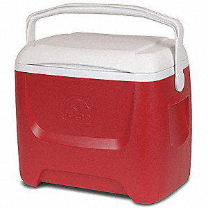 Plastic 28.0 qt. Personal Cooler, Ice Retention Up to 2 days, Red