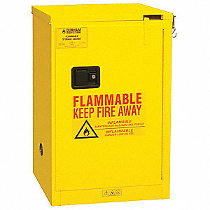 "23"" x 18"" x 36-3/8"" Galvanized Steel Flammable Liquid Safety Cabinet with Self-Closing Doors, Yellow"