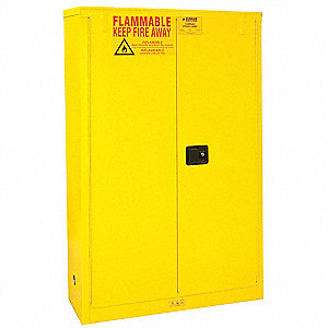 "43"" x 18"" x 65"" Galvanized Steel Flammable Liquid Safety Cabinet with Manual Doors, Yellow"