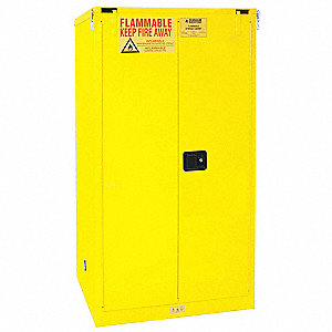 "34"" x 34"" x 66-3/8"" Galvanized Steel Flammable Liquid Safety Cabinet with Self-Closing Doors, Yellow"