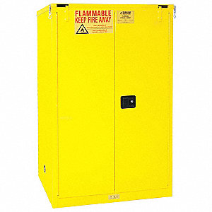 "43"" x 34"" x 66-3/8"" Galvanized Steel Flammable Liquid Safety Cabinet with Self-Closing Doors, Yellow"