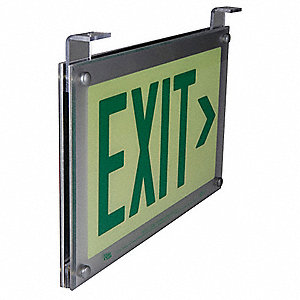 Exit Sign,2 Sided,9-11/32 x 16-3/4In,Grn