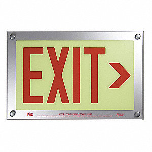 Exit Sign,2 Sided,9-11/32 x 16-3/4In,Red