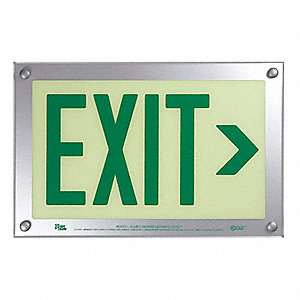 Exit Sign,Right Arrow,9-1/2x14-5/8In