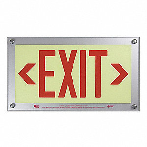 Exit Sign,9-11/32 x 16-3/4In,RED/YLW,BD