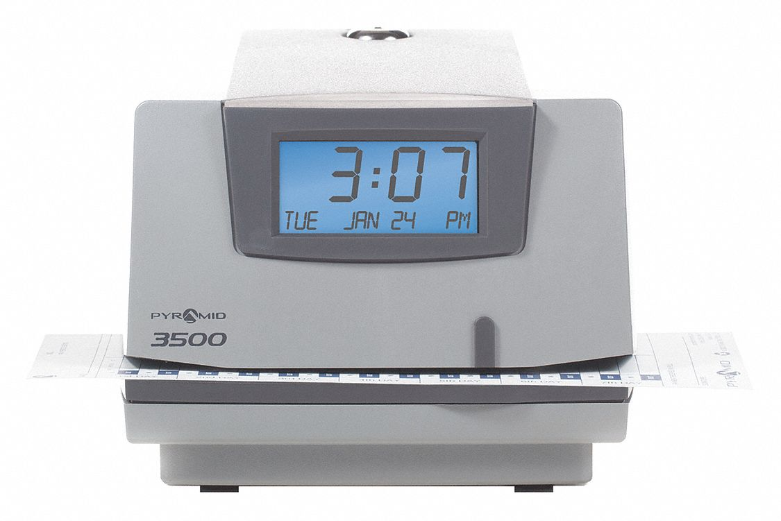 Surface, Wall-Mount Electronic Card Punch Time Clock, 5 3/4 inH x 6 3/8 inW x 7 inD