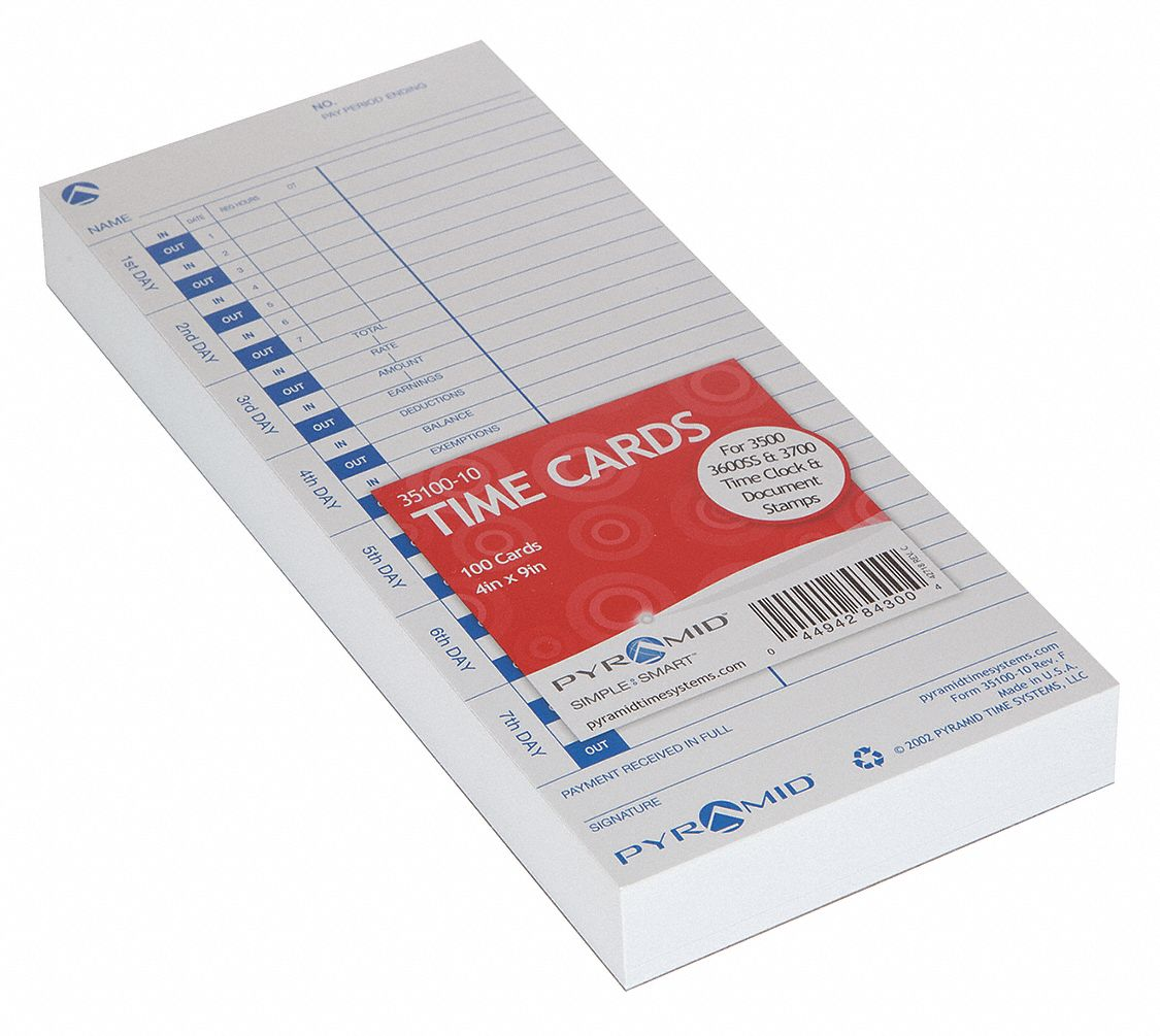 Time Card, Records Date and Time, 9 in Height, 4 in Width