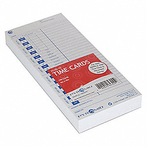 "Time Card, Records Date and Time, 9"" Height, 4"" Width"