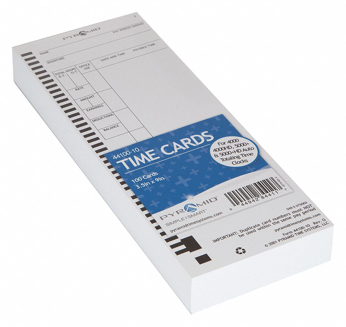 Time Card, Records Date, Time, Total Hours Worked, 9 in Height, 3 1/2 in Width