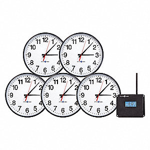 "13-1/4"" Wall/Dual Wall/Dual Ceiling Mount Round Analog RF Wireless Synchronized Clock Starter System"
