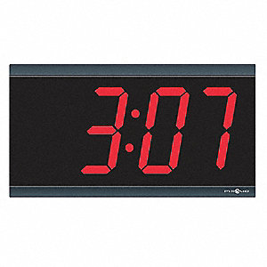 Wall/Dual Wall/Dual Ceiling Mount Rectangle Digital PoE Synchronized Digital Clock, Black